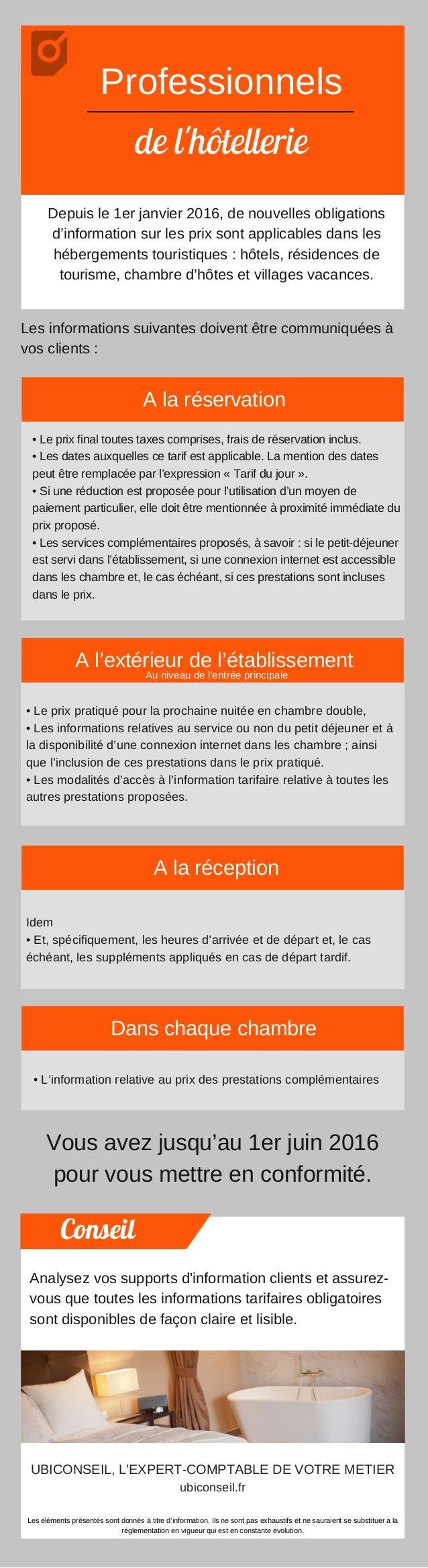 Professionnels de l'hôtellerie Depuisle1erjanvier2016,denouvellesobligations d'informationsurlesprixsontapplic...