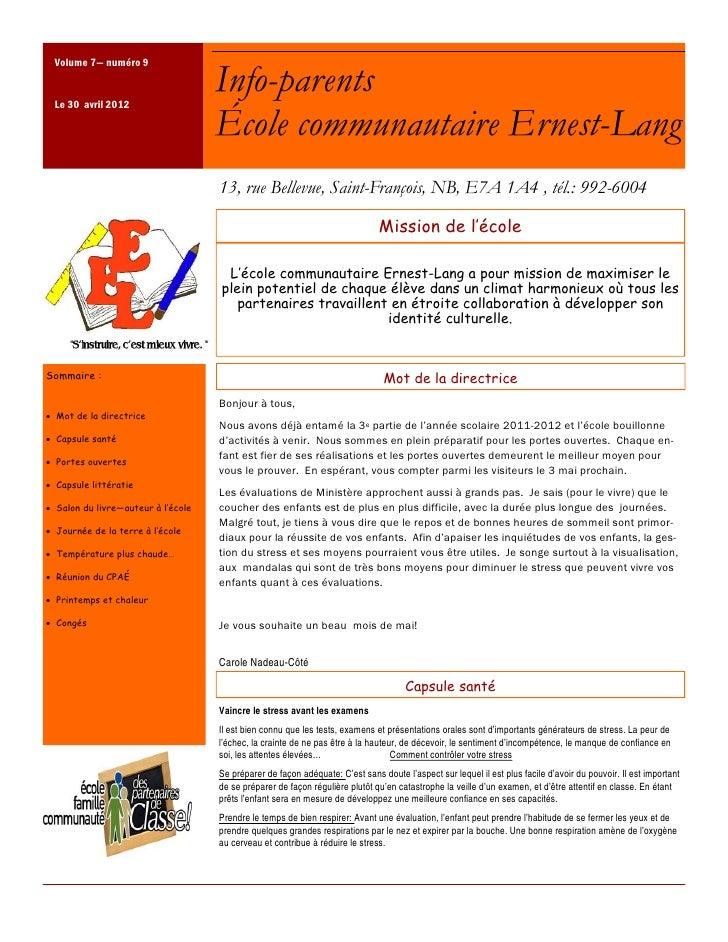 Volume 7— numéro 9 Le 30 avril 2012                                    Info-parents                                    Éco...