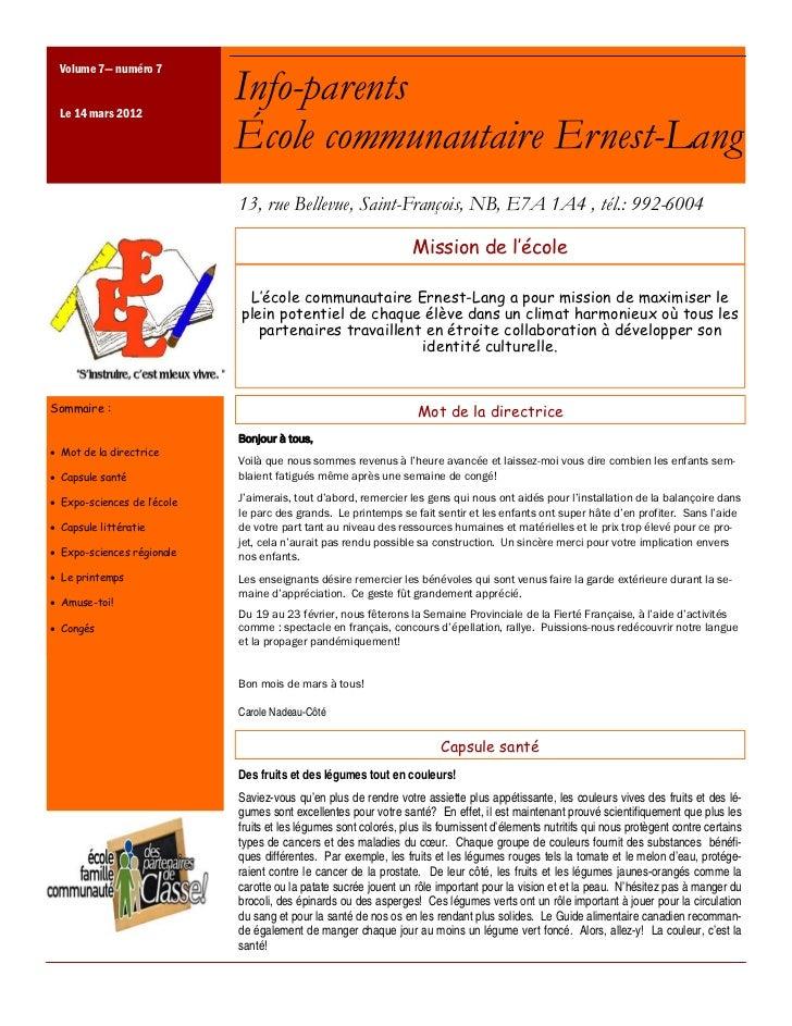 Volume 7— numéro 7 Le 14 mars 2012                             Info-parents                             École communautair...