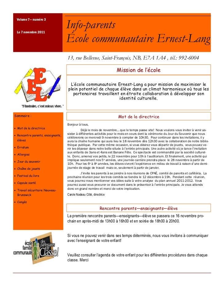 Volume 7—— numéro 3 Le 7 novembre 2011                                   Info-parents                                   Éc...