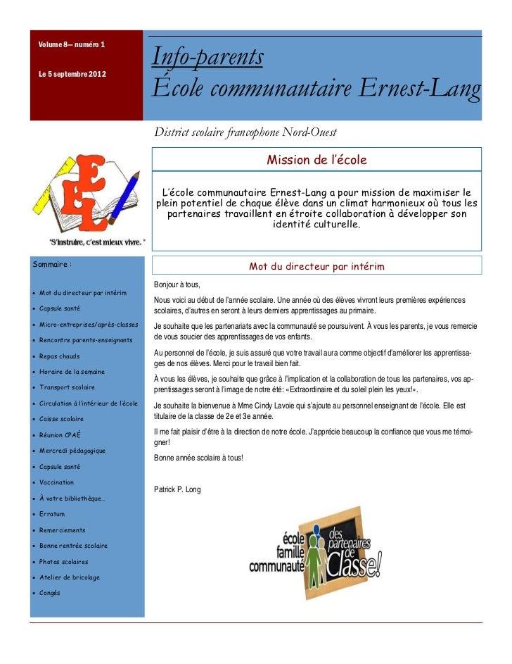 Volume 8— numéro 1  Le 5 septembre 2012                                         Info-parents                              ...