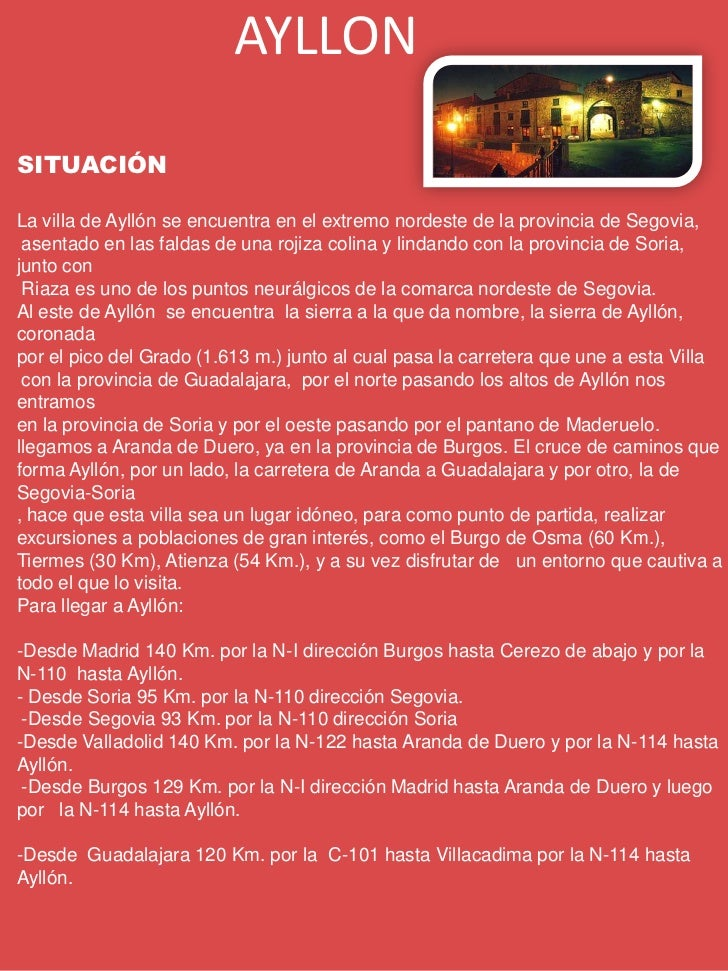 Información turística de Ayllón