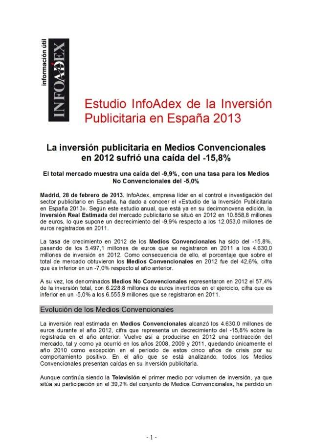 Infoadex cierre 2012  9,9% tpubli -15,8% atl -5% btl