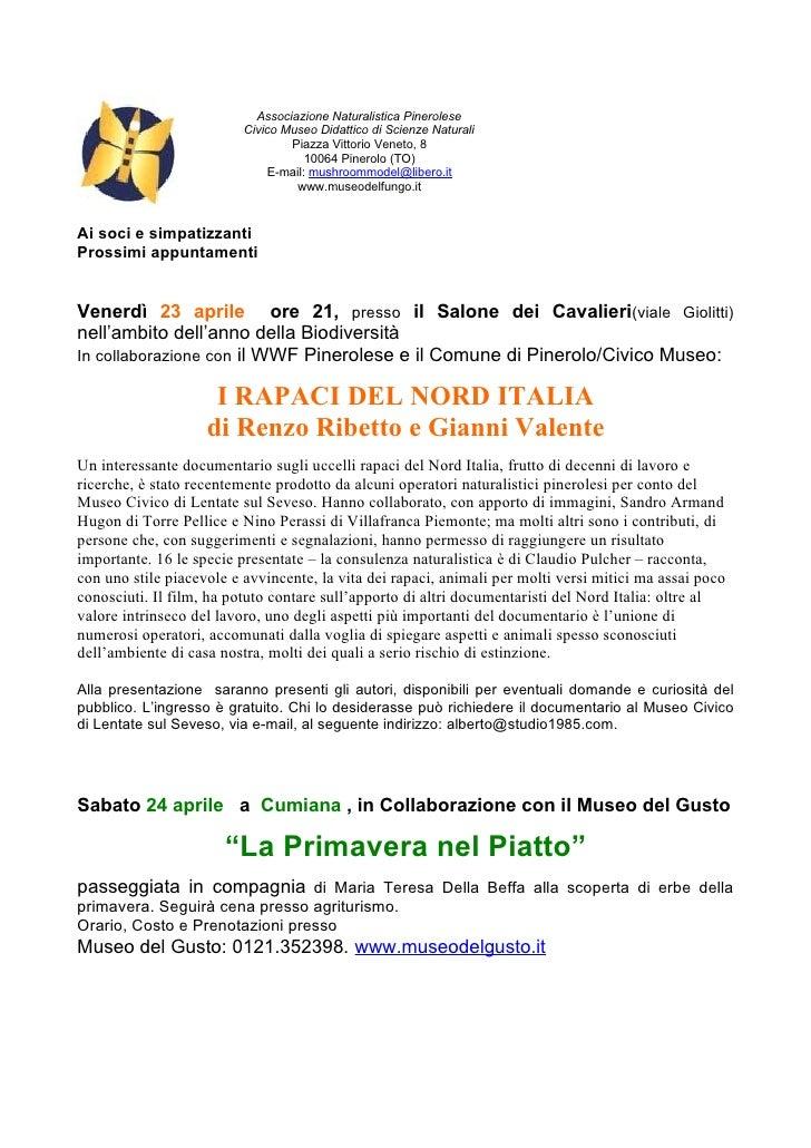 Associazione Naturalistica Pinerolese                           Civico Museo Didattico di Scienze Naturali                ...