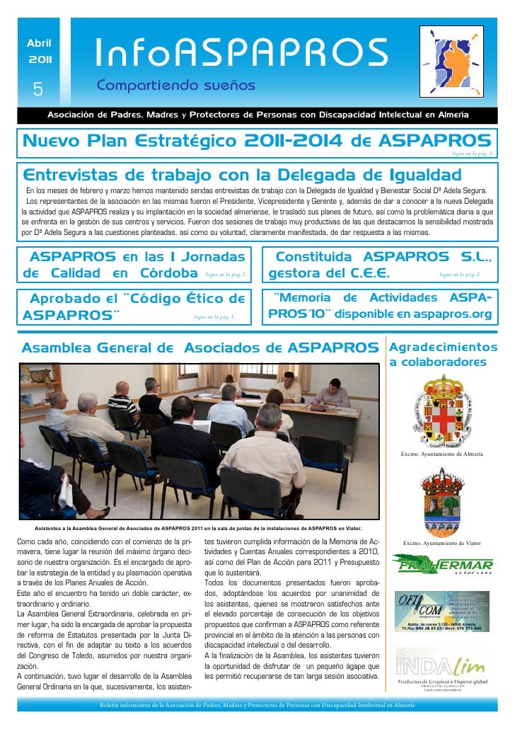 Abril   2011                     InfoASPAPROS     5                      Compartiendo sueños          Asociación de Padres...