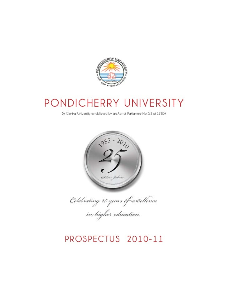 PONDICHERRY UNIVERSITY                             25  (A Central University established by an Act of Parliament No. 53 of...