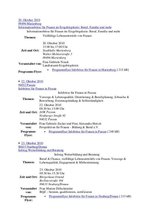 20. Oktober 2010 09496 Marienberg Informationsbörse für Frauen im Erzgebirgskreis: Beruf, Familie und mehr Informationsbör...