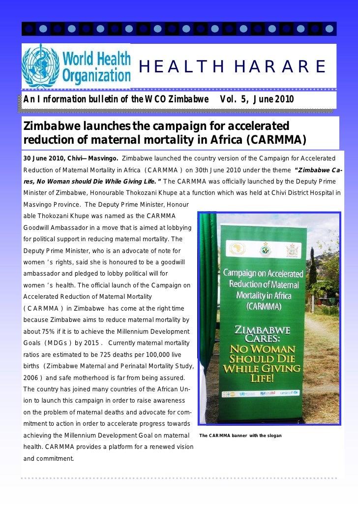 An Information bulletin of the WCO Zimbabwe Vol. 5, June 2010