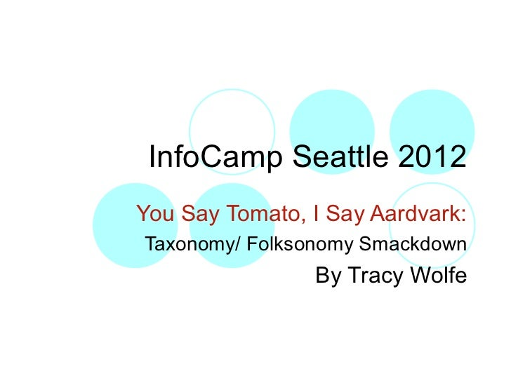 InfoCamp Seattle 2012You Say Tomato, I Say Aardvark:Taxonomy/ Folksonomy Smackdown                By Tracy Wolfe