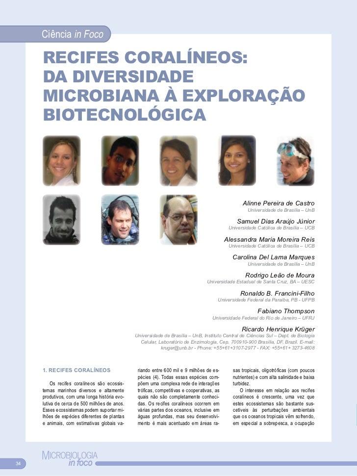 Ciência in Foco     RECIfES CORALÍNEOS:     DA DIvERSIDADE     MICROBIANA À EXPLORAÇÃO     BIOTECNOLóGICA                 ...