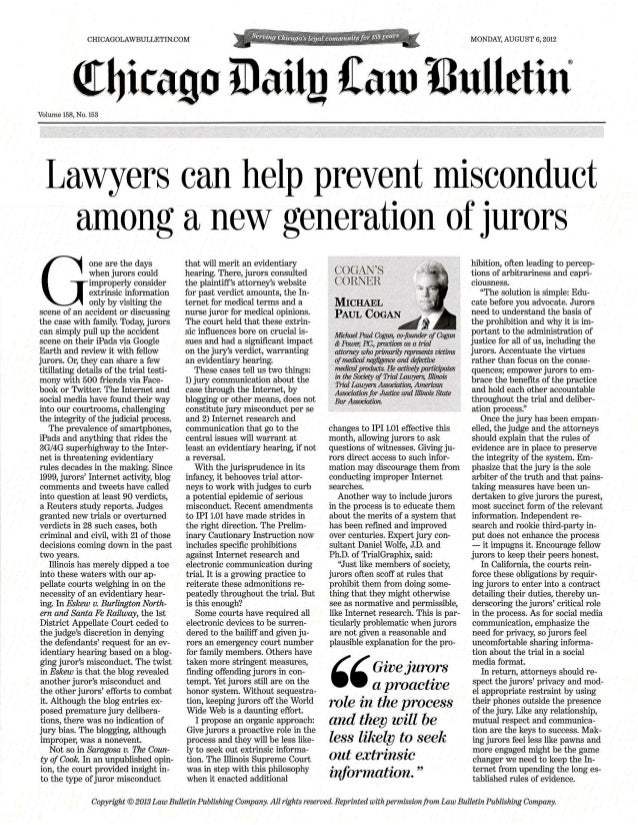 Cogan's Corner Juror Misconduct