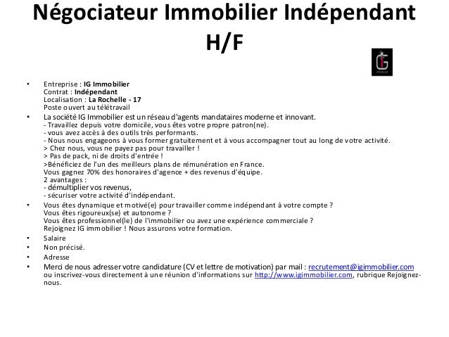exemple lettre de motivation negociateur immobilier