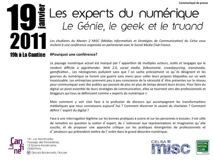 CommuniquédepresseLes étudiants du Master 2 MISC (Médias Informa6sés et Stratégies de Communica6on) du Cel...