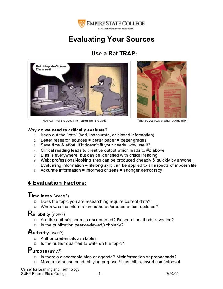 Evaluating Your Sources                                                  Use a Rat TRAP:                 How can I tell th...