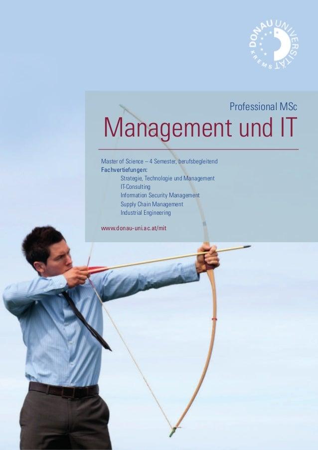 Master of Science – 4 Semester, berufsbegleitend Fachvertiefungen: Strategie, Technologie und Management IT-Consulting Inf...