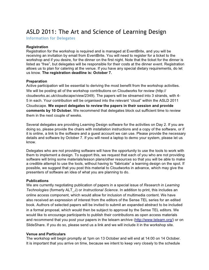 ASLD 2011: The Art and Science of Learning DesignInformation for DelegatesRegistrationRegistration for the workshop is req...