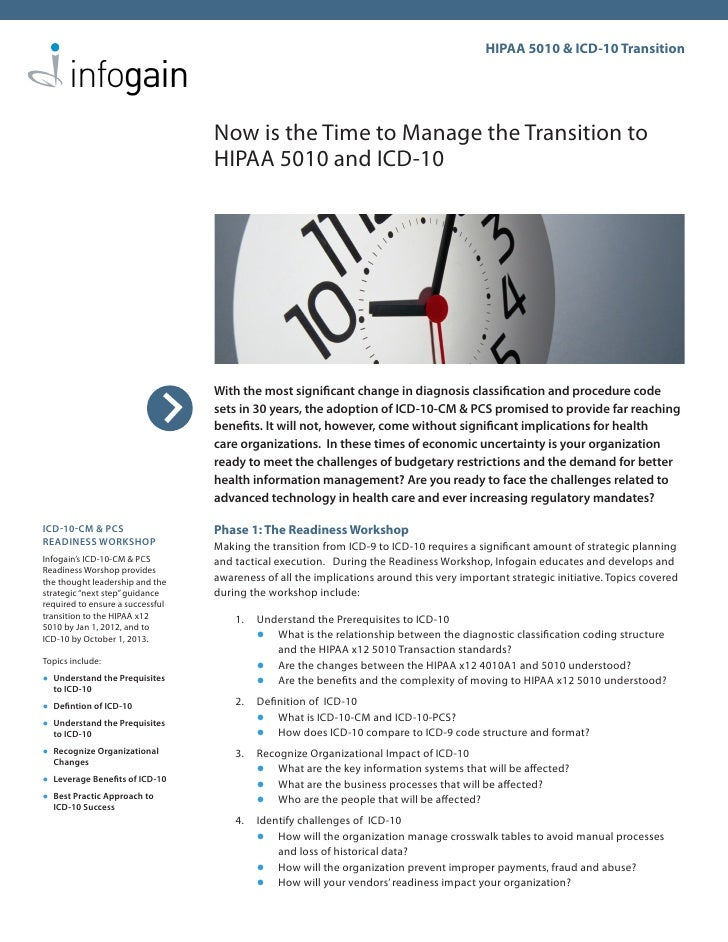 HIPAA 5010 & ICD-10 Transition                                       Now is the Time to Manage the Transition to          ...