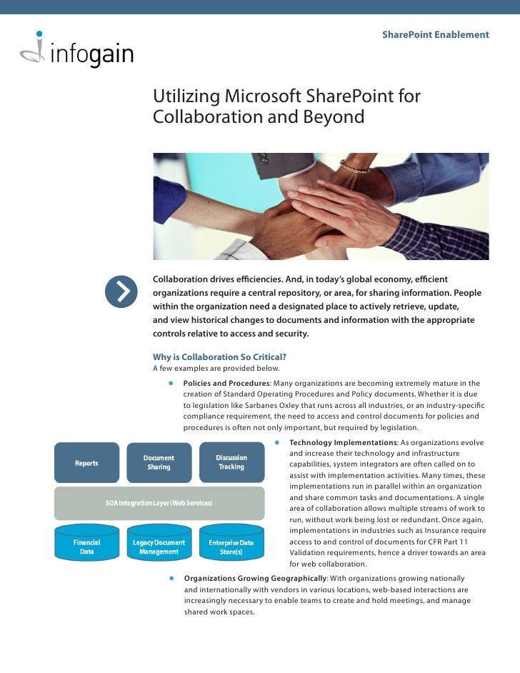 SharePoint Enablement     Utilizing Microsoft SharePoint for Collaboration and Beyond     Collaboration drives efficiencie...