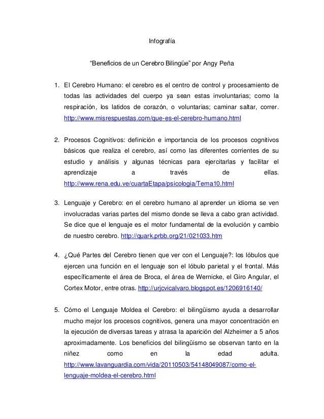 """Infografía            """"Beneficios de un Cerebro Bilingüe"""" por Angy Peña1. El Cerebro Humano: el cerebro es el centro de co..."""