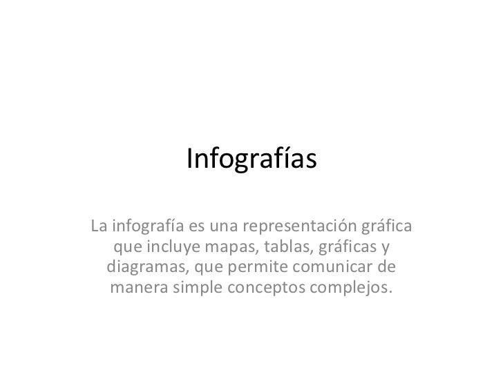InfografíasLa infografía es una representación gráfica   que incluye mapas, tablas, gráficas y  diagramas, que permite com...