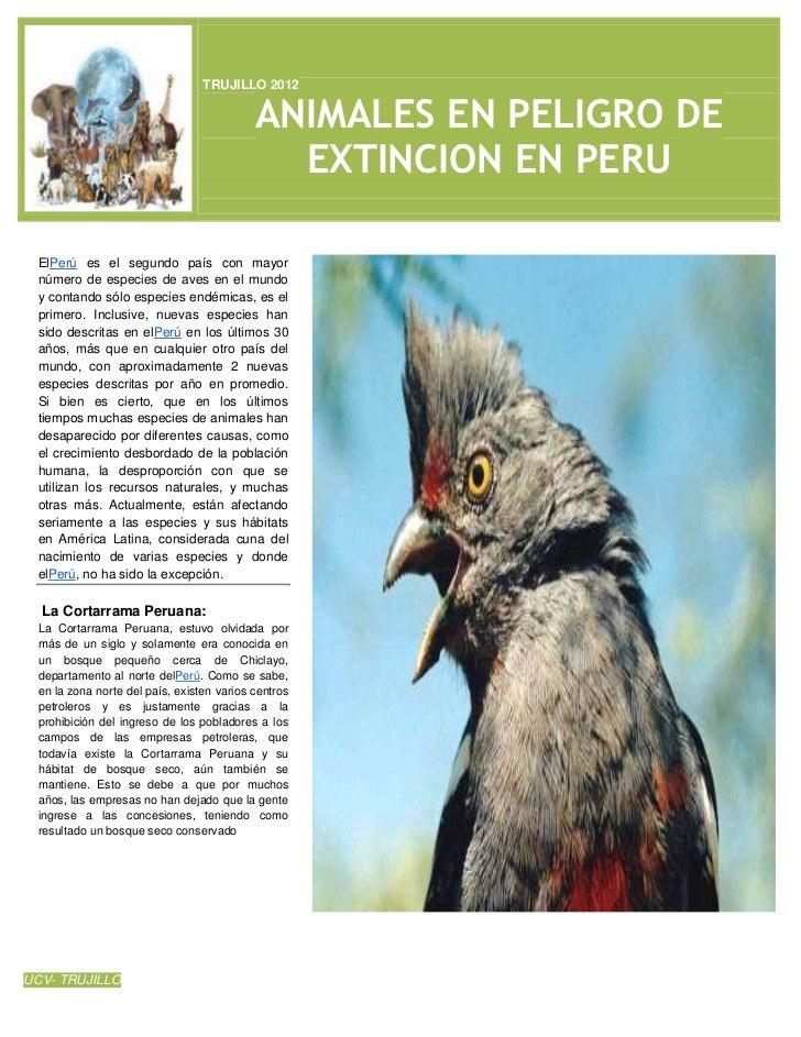 TRUJILLO 2012                                           ANIMALES EN PELIGRO DE                                            ...