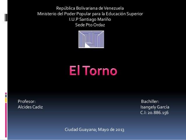 República Bolivariana deVenezuelaMinisterio del Poder Popular para la Educación SuperiorI.U.P Santiago MariñoSede Pto Orda...
