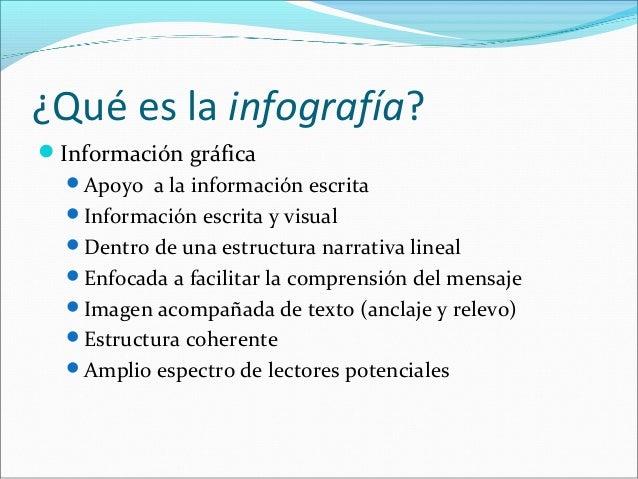 ¿Qué es la infografía? Información gráfica Apoyo a la información escrita Información escrita y visual Dentro de una e...