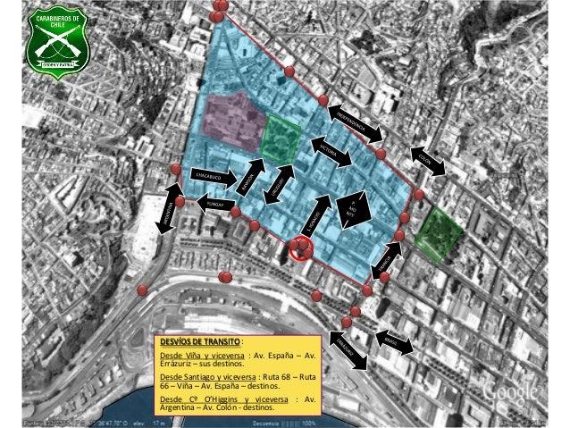 Mapa de desvíos en Valparaíso