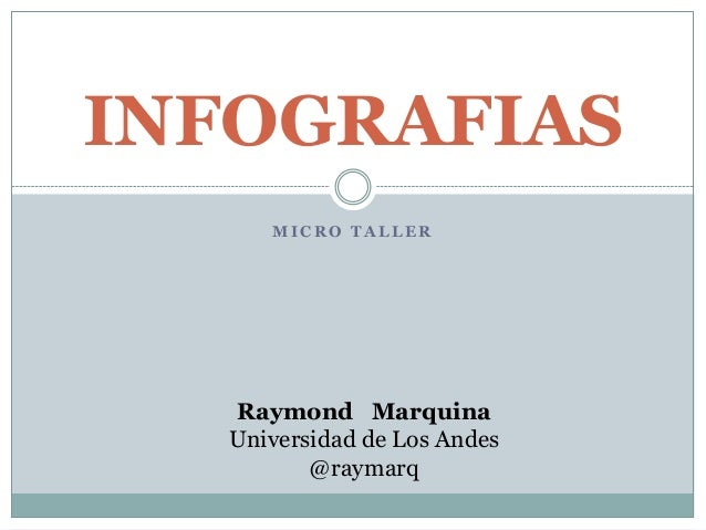 M I C R O T A L L E R INFOGRAFIAS Raymond Marquina Universidad de Los Andes @raymarq