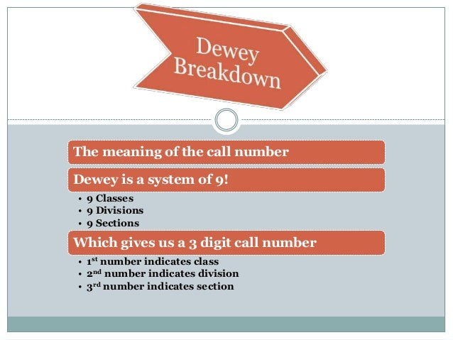 The meaning of the call number Dewey is a system of 9! • 9 Classes • 9 Divisions • 9 Sections Which gives us a 3 digit cal...