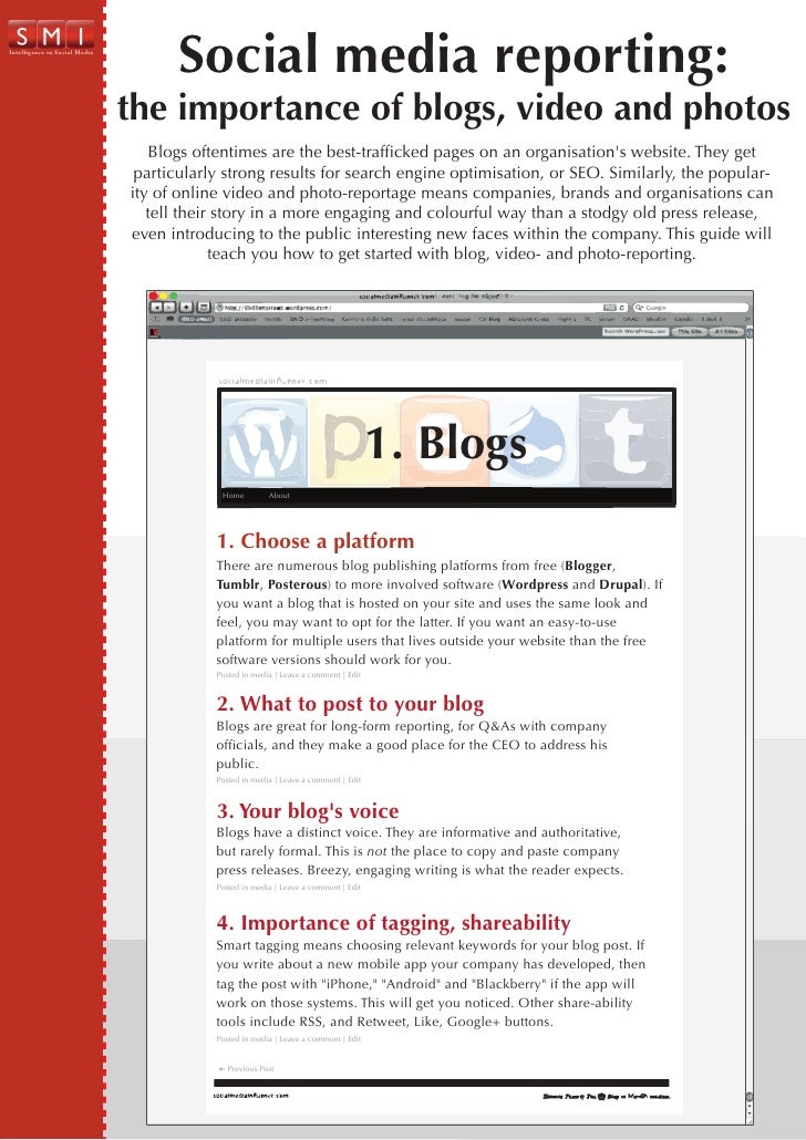 Infographic: importance of blogs, video, photos in corporate reporting