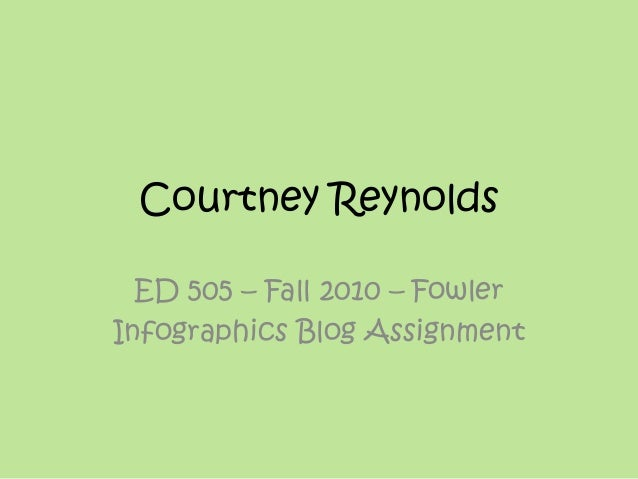 Courtney Reynolds ED 505 – Fall 2010 – Fowler Infographics Blog Assignment