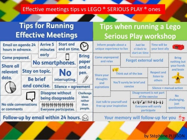 Tips for effective meetings vs LEGO ® SERIOUS PLAY ®Infographie1 web
