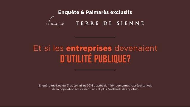 Et si les entreprises devenaient d'utilité publique? Enquête réalisée du 21 au 24 juillet 2016 auprès de 1 164 personnes r...