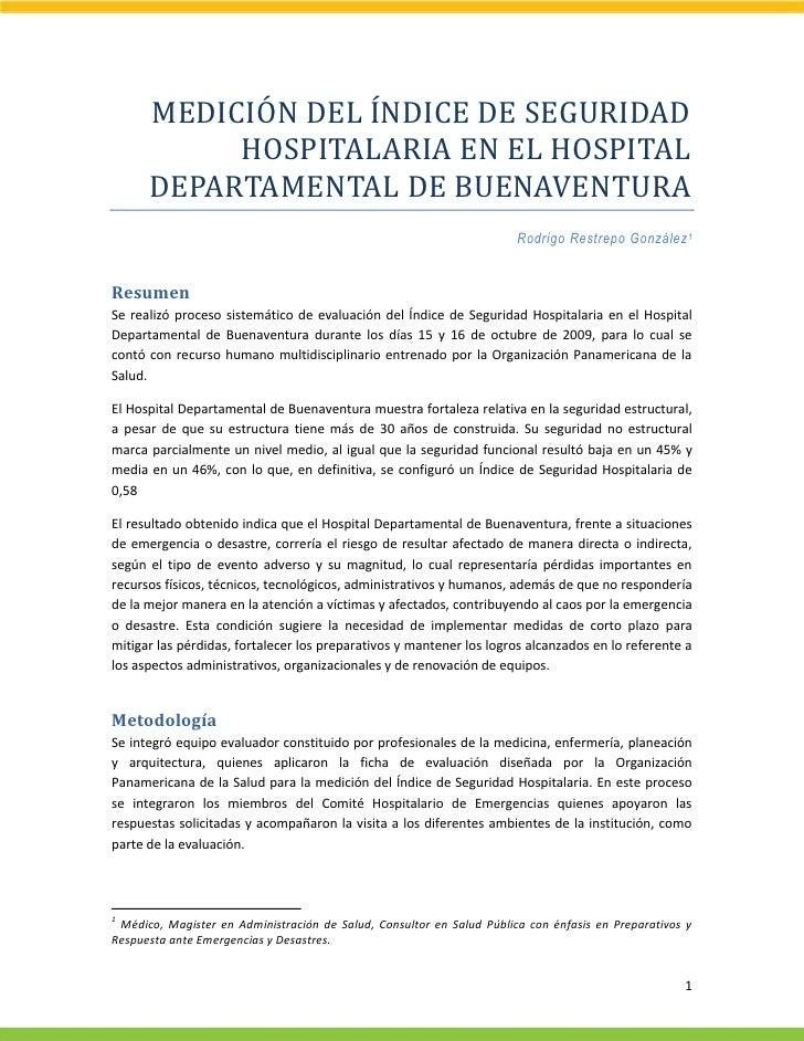 MEDICIÓN DEL ÍNDICE DE SEGURIDAD            HOSPITALARIA EN EL HOSPITAL       DEPARTAMENTAL DE BUENAVENTURA               ...