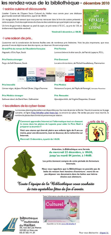 Les rendez-vous de la Bibliothèque - décembre 2010 30, rue de Los Heros 33185 LE HAILLAN 05.57.93.11.31 Pour vous désinscr...