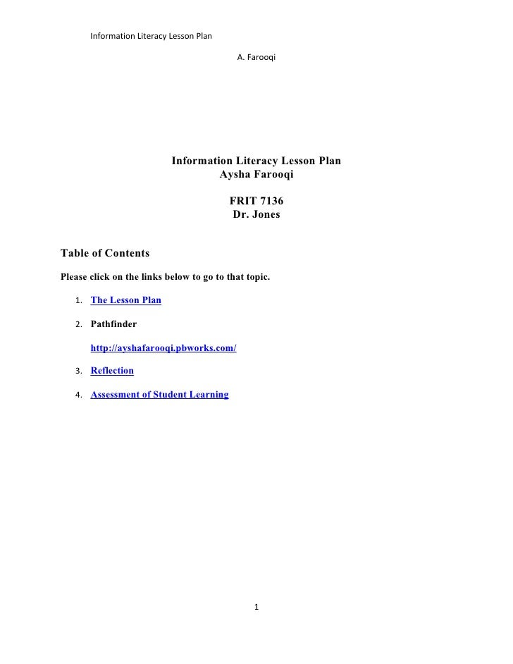 Information Literacy Lesson Plan                                             A. Farooqi                                 In...