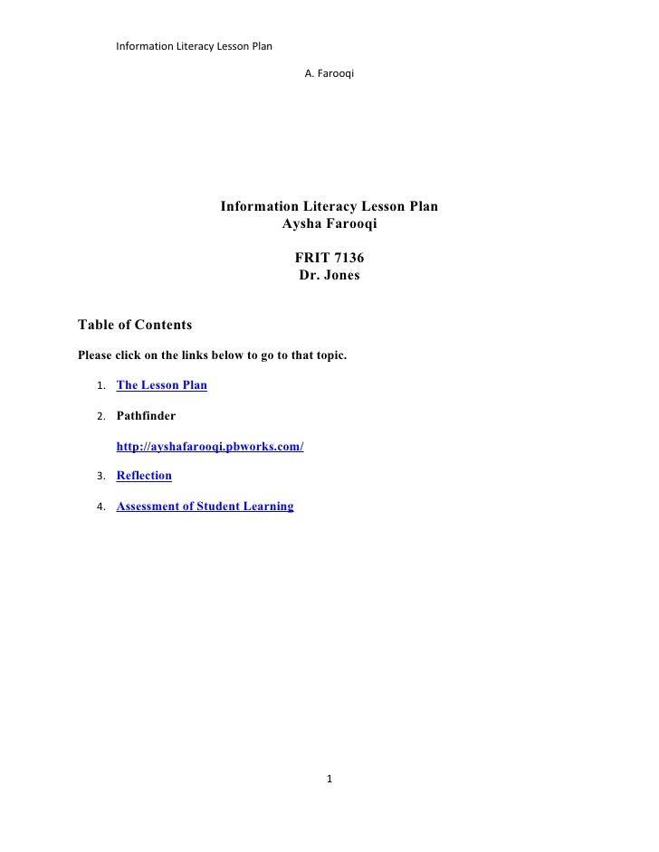 Info literacy lesson plan  farooqi