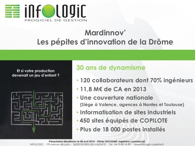 Mardinnov' Les pépites d'innovation de la Drôme 30 ans de dynamisme • 120 collaborateurs dont 70% ingénieurs • 11,8 M€ de ...