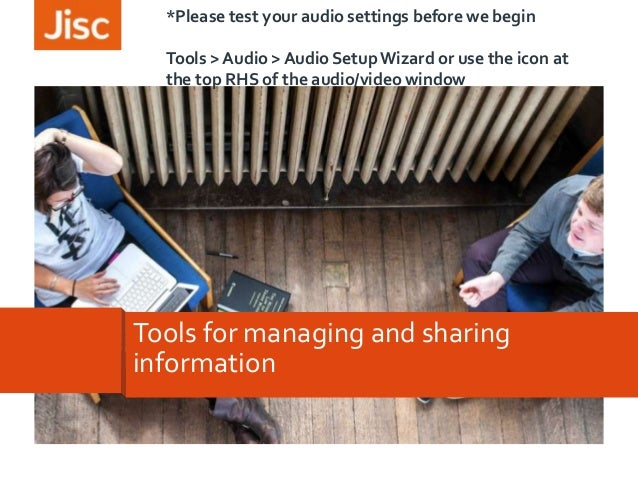 *Please test your audio settings before we begin Tools > Audio > Audio Setup Wizard or use the icon at the top RHS of the ...