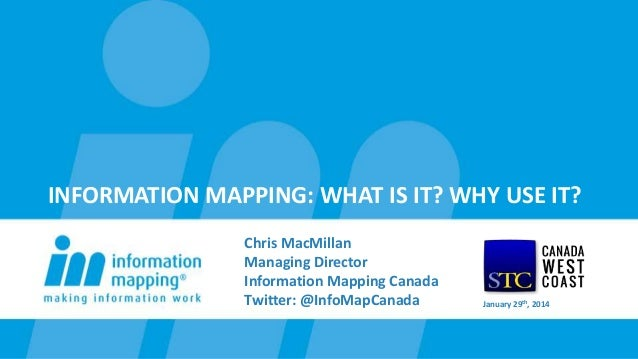 INFORMATION MAPPING: WHAT IS IT? WHY USE IT? Chris MacMillan Managing Director Information Mapping Canada Twitter: @InfoMa...