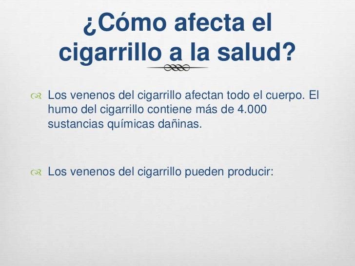 Como afecta el tabaco al cuerpo humano