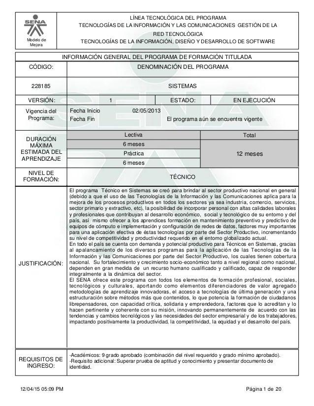 LÍNEA TECNOLÓGICA DEL PROGRAMA TECNOLOGÍAS DE LA INFORMACIÓN Y LAS COMUNICACIONES GESTIÓN DE LA Modelo de Mejora RED TECNO...