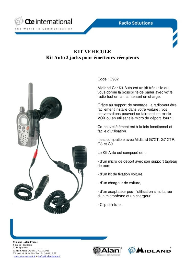 KIT VEHICULE                              Kit Auto 2 jacks pour émetteurs-récepteurs                                      ...