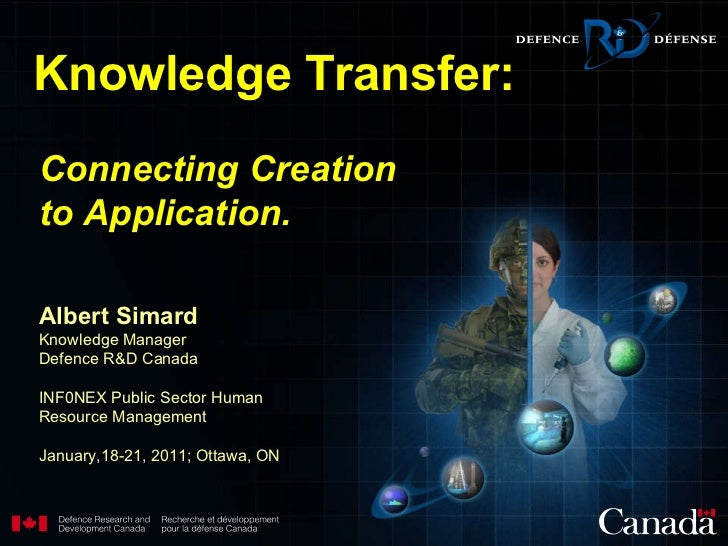 Connecting Creation to Application.   Albert Simard Knowledge Manager Defence R&D Canada INF0NEX Public Sector Human Resou...