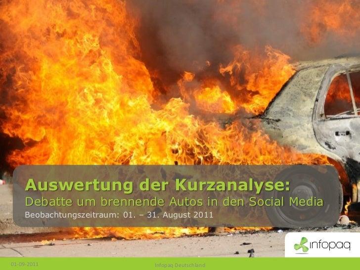 Auswertung der Kurzanalyse:     Debatte um brennende Autos in den Social Media     Beobachtungszeitraum: 01. – 31. August ...
