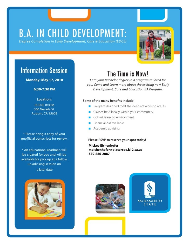 B.A. in Child development: Degree Completion in Early Development, Care & Education (EDCE)      Information Session       ...