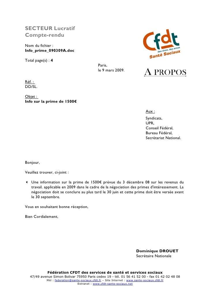 SECTEUR Lucratif Compte-rendu Nom du fichier : Info_prime_090309A.doc  Total page(s) : 4                                  ...