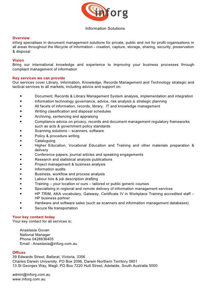 Inforg capability statement 2010