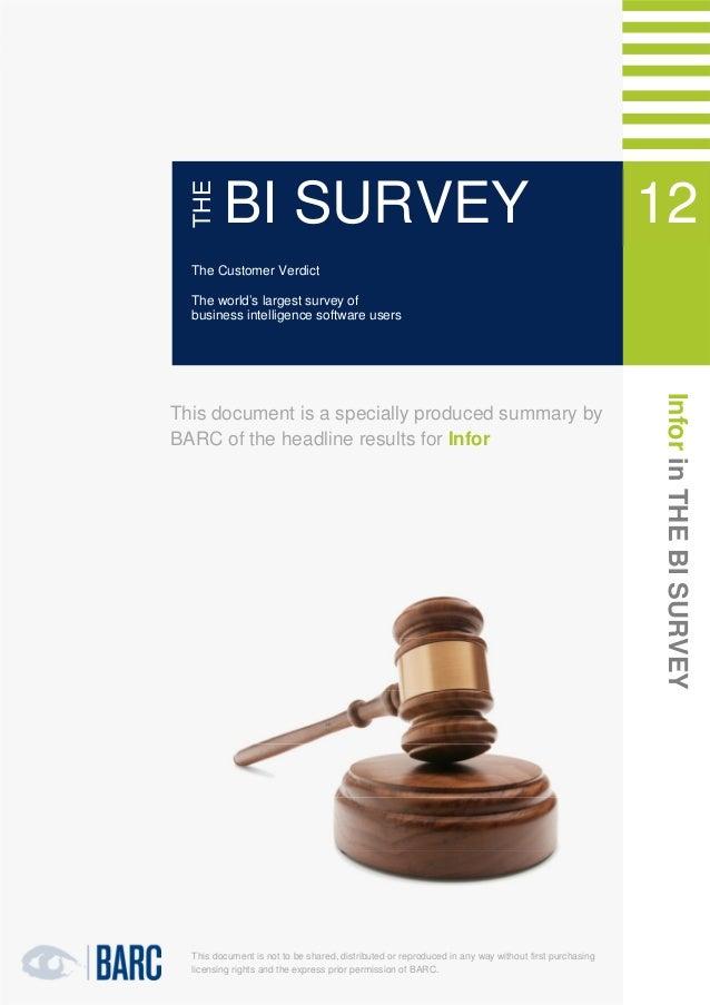 1   Infor in THE BI SURVEY 12               THE                      BI SURVEY                                            ...